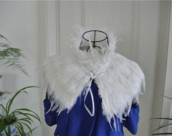 White hackle feather cape feather jacket feather shawl feather cape Carnival feather shoulder shrug
