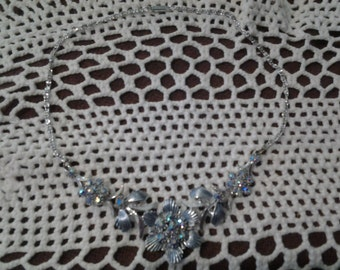 Vintage 1950's aurora borealus and flower cluster necklace
