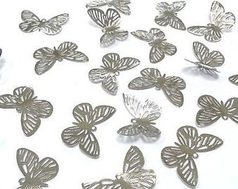CraftbuddyUS BF3- 20pcs SILVER Filigree Metal Butterfly Embellishments, Wedding Craft