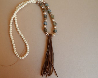 Long beaded necklace with leather suede tassel and recycled glass beads, beach style, neutral, natural wood beads, long necklace