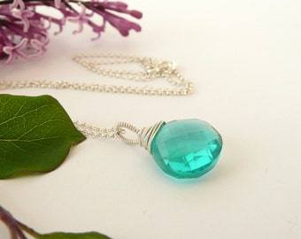 Sterling Silver Quartz Necklace, Teal Quartz Necklace, Dainty Gemstone Necklace, Wire Wrapped Necklace, 925 Silver Jewelry