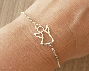 Tiny Angel Bracelet, Angel Bracelet Silver, Gold Angel Bracelet, Minimalist Bracelet, 925 Sterling Silver Jewelry