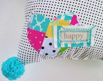Pom Pom Pillow, Happy Pillow, Decorative Pillow