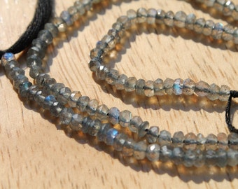 Natural 2-3mm Microfaceted Labradorite Beads - Full Strand