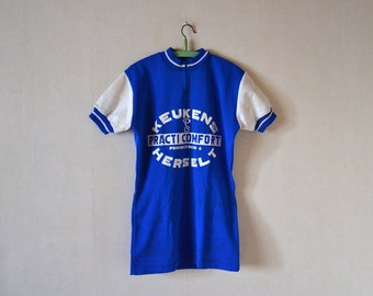 Vintage Cycling jersey KEUKEN HERSELT / blue Cycling T-shirt from Belgium