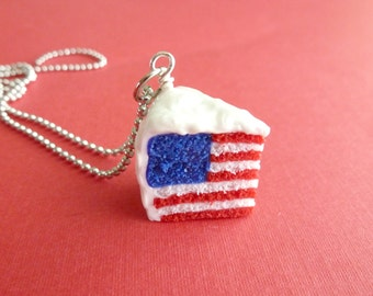 American Flag Cake 4th of July Patriotic Miniature Food Jewelry Polymer Clay Cake Necklace