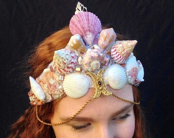 Large Pink Shells Mermaid Crown