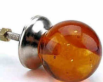 Round Globe/Ball Glass shaped furniture Door Knobs - Amber Orange (Handles, cabinet pulls)