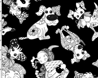 Loralie Doodle Dogs Black Cotton Fabric BTY