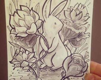 "Original ""Hiding in the Garden"" Ink Drawing"
