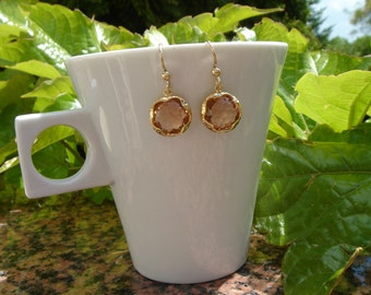 Gold Earrings, 585 goldfilled with apricot glass