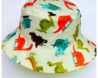 Dinosaur Reversible Sunhat, 6-12 months, Boys Hat, Summer, Baby Hat, Clothing, Handmade in the Uk