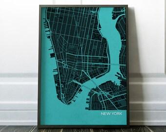 New York City Street Map, Travel Print