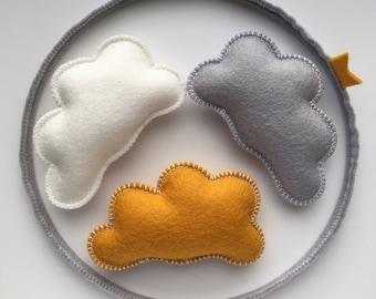 Coudmobile wool felt grey | ocher | white
