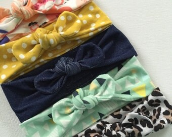 Topknot headbands, Spring collection, babies to adults