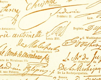 1897 Autograph Signatures Antique Print Larousse Large Size 115 Years Old History Decor  Wall Art