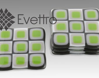 Green Retro Squares Fused Glass Coasters, Set of 4