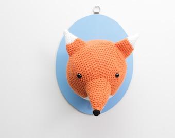 Fox head, animal head, Taxidermy Crochet Animal Fox Trophy Head, faux fox head