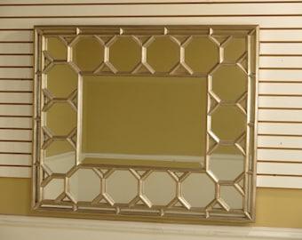 28258E:  Silver Rectangular Decorator Wall Mirror