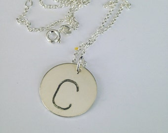 STERLING SILVER Jumbo Initial Necklace //