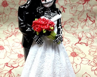 Day of the Dead Skeleton Couple Wedding Cake Topper