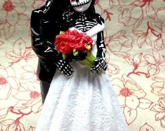 Day of the Dead Skeleton Couple Wedding Cake Topper