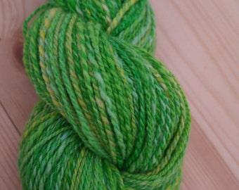 Handspun Green Yellow Worsted Merino Yarn