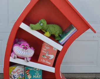 4 ft. Cat In The Hat Bookcase / Dr Seuss Bookshelf / Whimsical Bookcase / Alice in Wonderland Furniture / Dr Seuss Bookcase