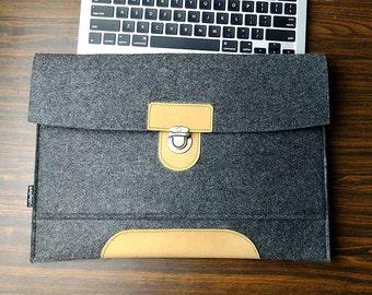 Dell Laptop Bag, Dall Venue 8 Pro Case, Felt Laptop Case, Leather Tablet Cover, Messenger Bag, Christmas Gift For Him, 3B199