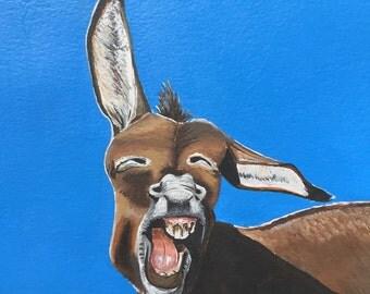 Original acrylic painting. Amused donkey. Free UK delivery