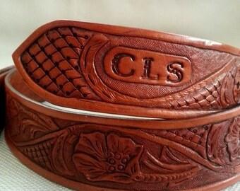 Belt, Leather Belt, Handmade Belt, Mens Belt, Womens Belt, Personalized Belt, Western Belt, Floral Belt, Initialed Belt, Accessories