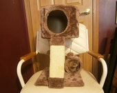 "Elevated ""Penthouse"" Plush Cat Condo Tower With 2 Scratching Posts And 3 Teaser Play Toys"