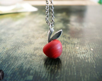 Apple wood and silver necklace