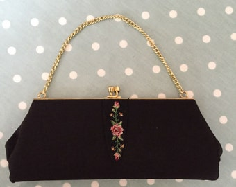 Vintage 1950s Rose Embroidered Crepe Black Evening Bag