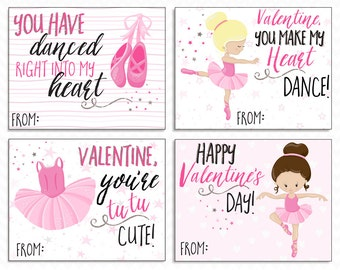 Printable Ballerina Valentine Cards for Kids - Instant Download