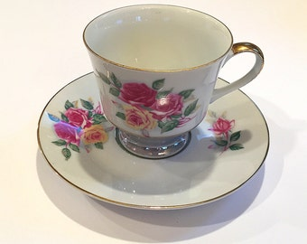 Vintage Bone China Cup and Saucer Set Pink Red Yellow Roses Flowers Tea Party