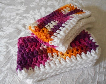"Set of Two Hand Crochet Purple, Pink ,Orange, And White Washcloths, Dishcloths, and Facecloths 11"" by 7 1/4"" ( One Price Buys Two)"
