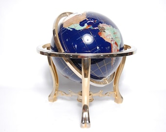 """Vintage Gemstone Mineral Globe Decorative Brass Base with Compass 18"""" Tall"""