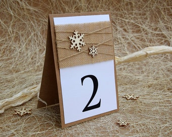 Winter Table Number, Winter Wedding, Snowflake Table Number, Rustic Table Number, Christmas Table Decor, Christmas Wedding Table Number
