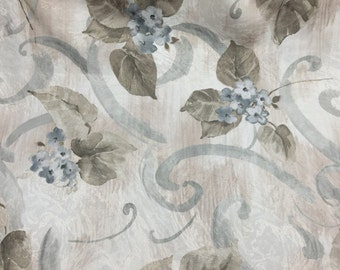 """Blue Floral Print Upholstery Drapery Fabric - Sold By The Yard - 58"""""""