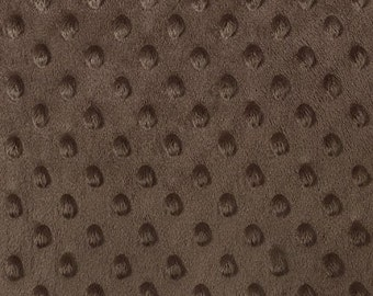 "Brown Minky Dot Cuddle Fabric - Sold By The Yard - 58""/ 60"""