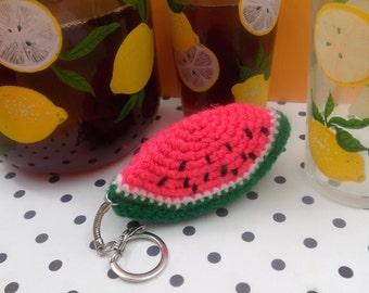 Keychain watermelon | Handmade in amigurumi crochet | Kawaii gift