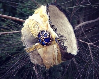 Cuff bracelet, fabric wrist cuff,  boho bracelet, textile, embroidered, wearable art, upcycled jewelry