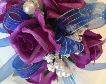 Prom Purple Silk Wrist Corsage, Royal Blue Wrist Corsage, Prom Wrist Corsage, Silk Corsage