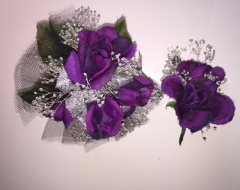 Purple and Silver Wrist Corsage, Prom Corsage, Homecoming Corsage