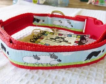Dog Collar Red Border Collie Medium