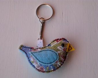 Felt and Fabric Handsewn Bird Key Ring