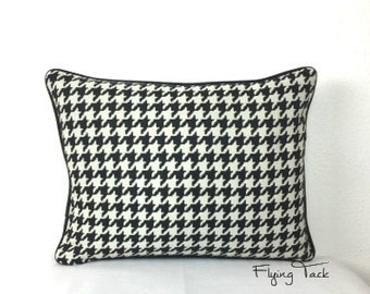 """Black and White Houndstooth Pillow with Black Piping - 14"""" x 18"""" Down Insert - Invisible zipper - Same fabric both sides"""