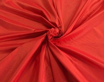"Red silk Taffeta fabric yardage By the Yard 60"" wide 100% silk"