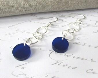 Silver Drop Earrings – Silver Dangle Earrings - Long Drop Earrings – Blue Earrings – Fashion Earrings – Long Silver Earrings – Laser Cut
